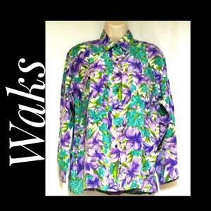 Vintage Waks 100% Silk Long Sleeve Floral Blouse